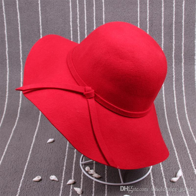 Chapéus das mulheres Fascinator Chapéus Para As Mulheres Boné de Senhora de Aba Larga De Lã Feltro Chapéu Fedora Chapéu Chapéus Floppy Para As Mulheres Chapéus de Inverno