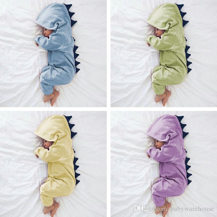 9991cd4a2 2019 Cartoon Dinosaur Design Hooded Baby Rompers Newborn Clothing ...