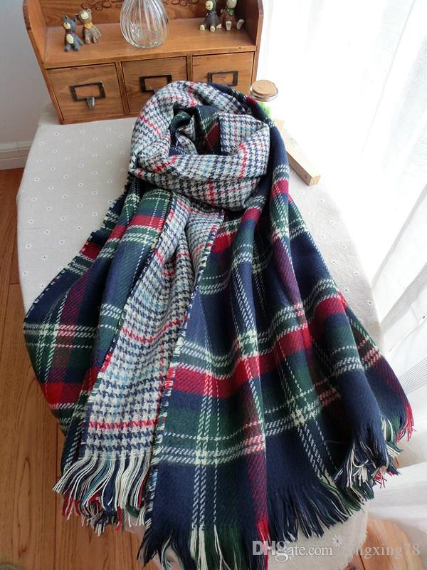 Hot sale Blanket Oversized Scarf Wrap Shawl Plaid Cozy Checked navy Pashmina