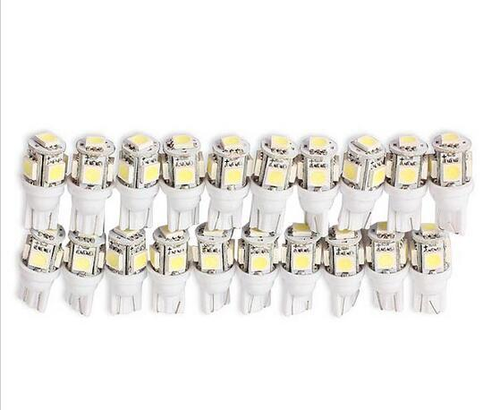100PCS T10 5 SMD 5050 T12 W5W LED White Light Car Side Wedge Tail Light Lamp Bright Car Bulb Light wholesale