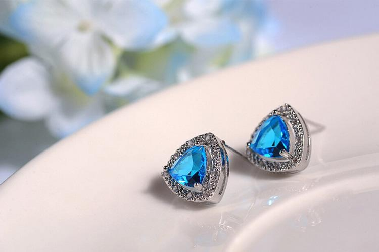 Luxurious Blue Gemstone Necklace Earrings Sets Triangle Shape Copper Jewelry Set Classic fashion crystal necklace set 1404