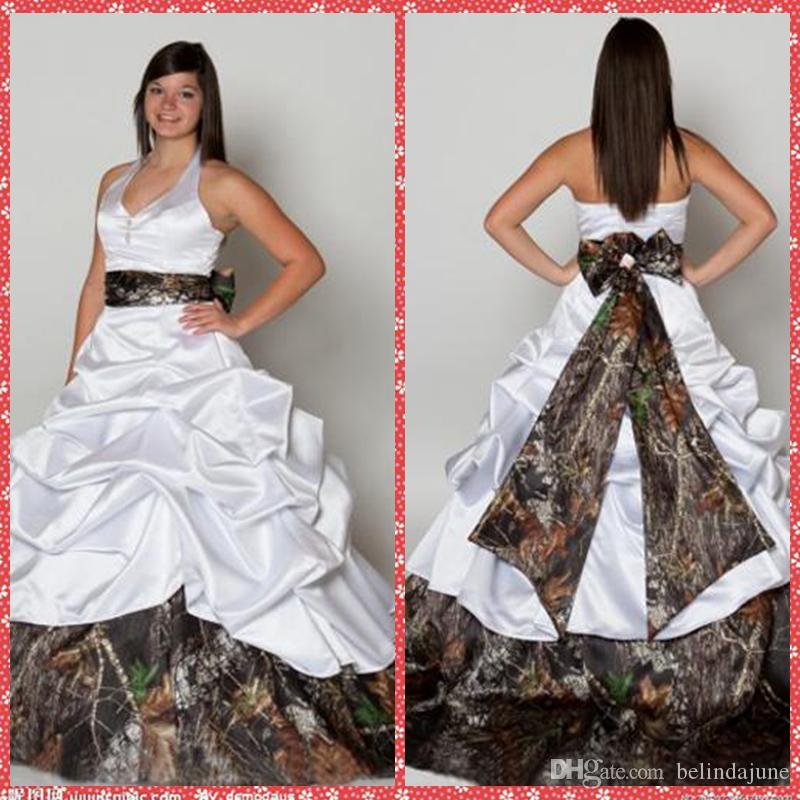 halter satin camo ball gown wedding dresses 2016 attractive