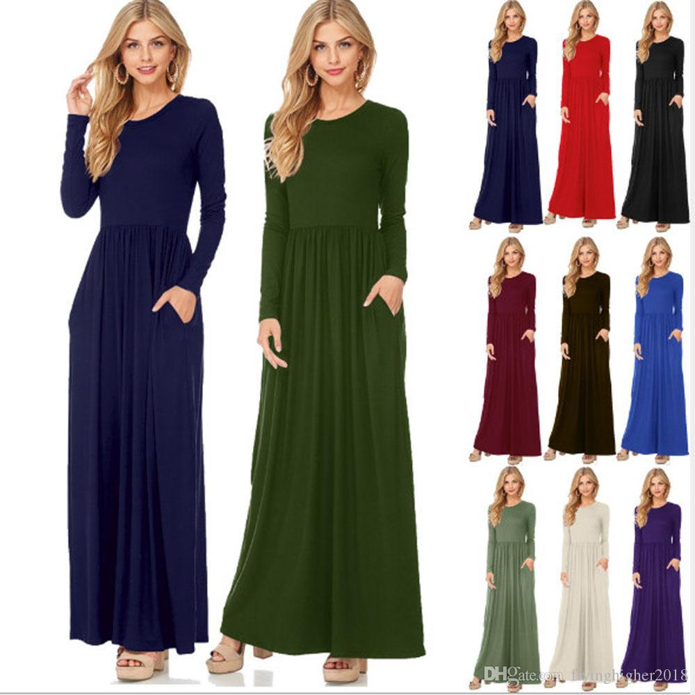 2017 Women Autumn Long Sleeve Loose Plain Maxi Dress Casual Ladies Fall Solid Color Long Dresses