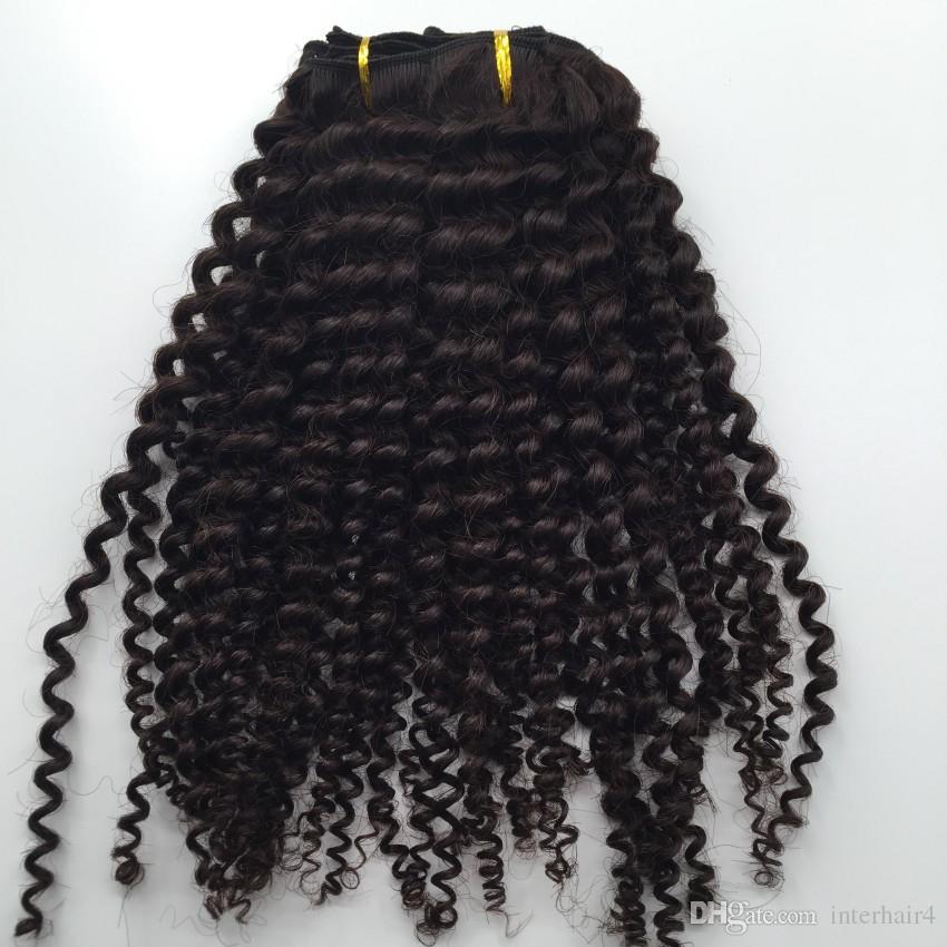 nuovo stile vergine brasiliana dei capelli ricci clip di trama in estensioni dei capelli umani non trasformati naturale nero / marrone colore 7 pz afro arricciatura crespa