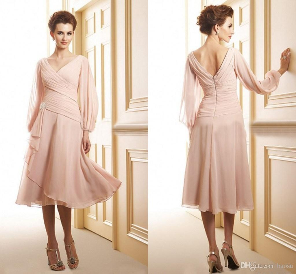 Outdoor Wedding Mother Of The Bride Dresses: 2015 Chiffon Pink Mother Of The Bride Dresses Beach Tea