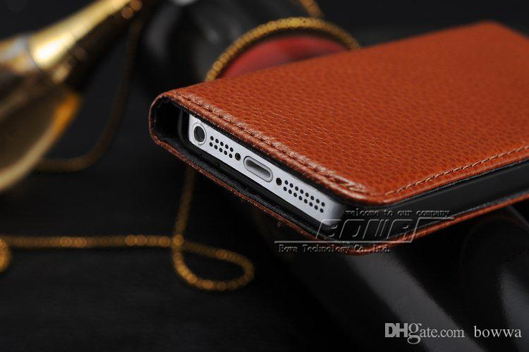 New 1pc hot sale Genuine Leather Luxury Cover Case for iphone 5 5S iphone5S High Quality Mobile Phone Bags Free Ship