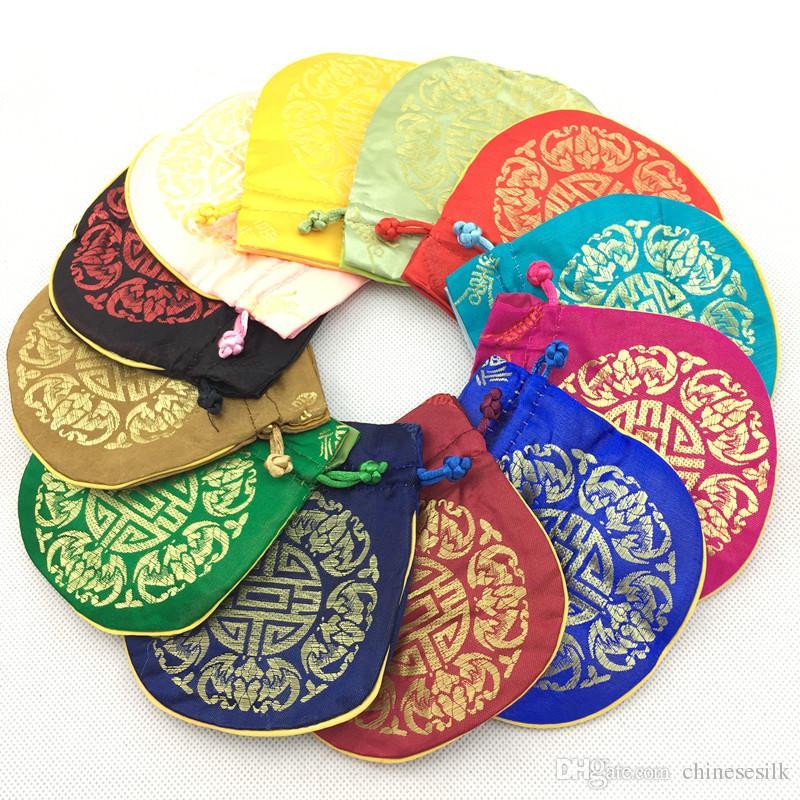 Chinese Joyous Patroon Kleine Zijde Brocade Tas Trekkoord Sieraden Gift Pouches Munt Pocket Lege Thee Candy Bag Bruiloft Gunst