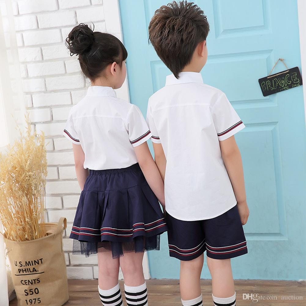 Girl Boy School Uniforms Summer Korean Style Short Sleeves Cosplay Costume Primary School Uniform Suit for 4-8 years old