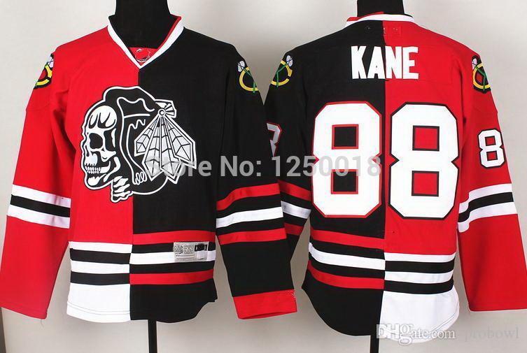 best loved f3ab3 07c61 Cheap Blackhawks 88 Patrick Kane Skull Logo Fashion Split ice hockey  Jerseys,stitched jersey