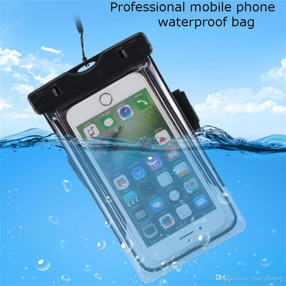 6'' Universal Waterproof Mobile Phone Bag Case Clear PVC Sealed Underwater Cell Smart Phone Dry Pouch Cover Swimming Diving