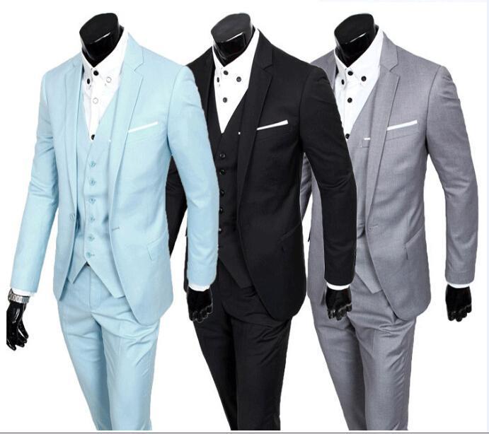 Latest Mens Wedding Suits Korean Version Slim Fit Groom Tuxedos Man ...