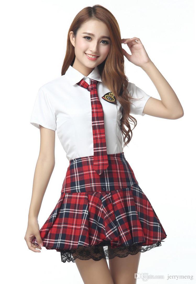 4c2aa1deb4ef26 Uniforme japonais fille coréenne manches courtes jupe à carreaux rouge /  bleu tibétain Uniformes Japonais Costumes coréens pour fille