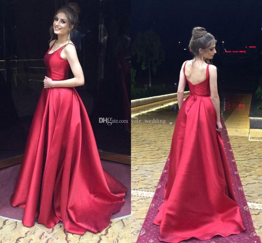 51940180ef9a5 Simple Red Satin Long Prom Dresses Scoop Neck Sleeveless Backless Aline  Elegant Evening Gowns Formal Evening Dresses Graduation Dress Masquerade  Prom ...