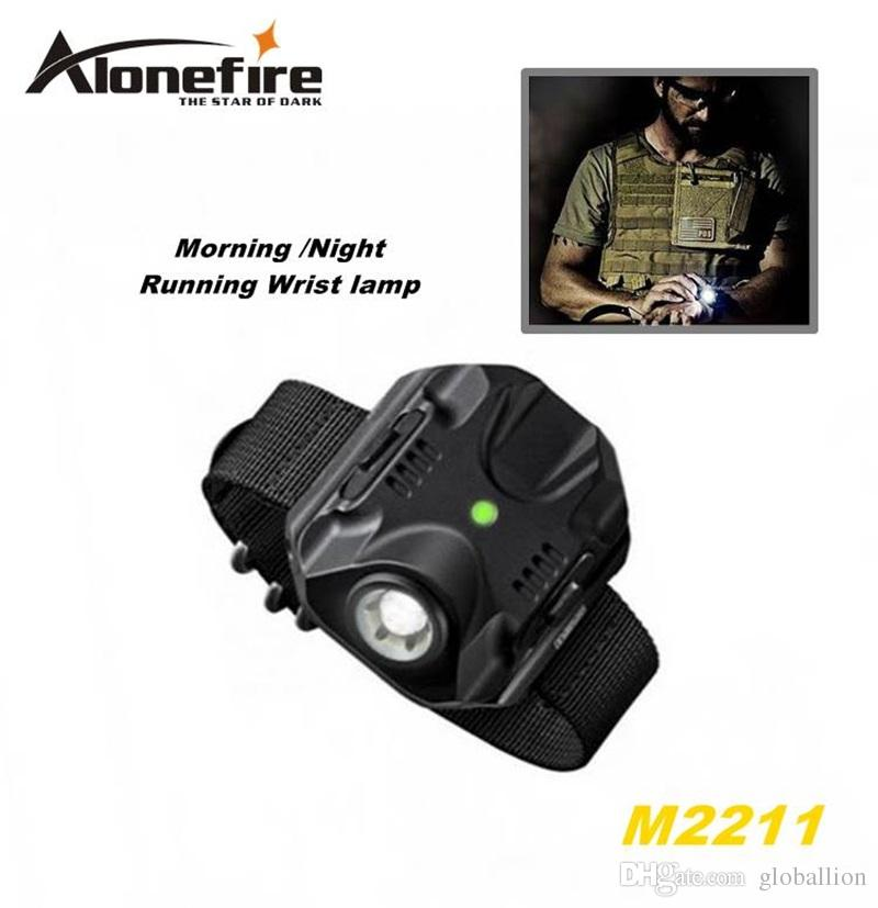 ALONEFIRE M2211 CREE XPE R2 LED 5 model Built-in battery Morning/Night Run Wrist lamp Tactical light flashlight