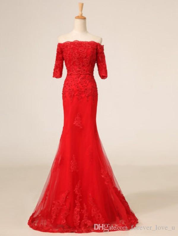 화려한 붉은 드레스 어깨 절반 슬리브 중국어 파티 파티 드레스 오프 Cheongsam 레이스 업 스윕 기차 레이스와 Appliques과 얇은 명주 그물