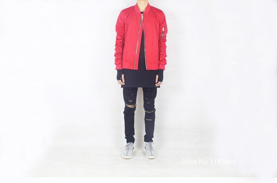 See larger image - Red Bomber Jacket Men Hip Hop Streetwear Brand Designer Off White