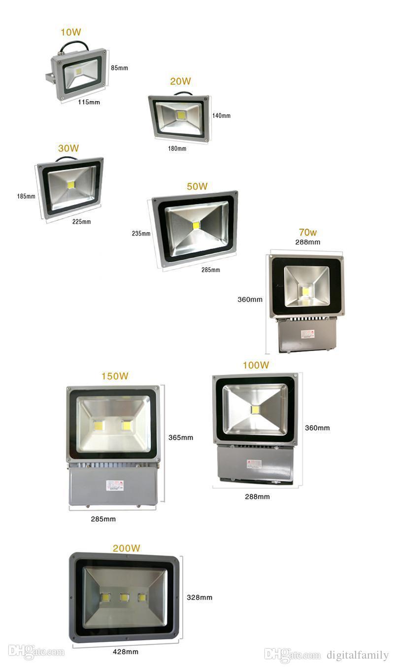 Einzelhandel Outdoor LED Flutlicht 10W 20W 30W 50W 70W 100W 150W 200W Wasserdicht Warmweiß Kaltweiß COB Landscape Flood Lights Wall Wash Light