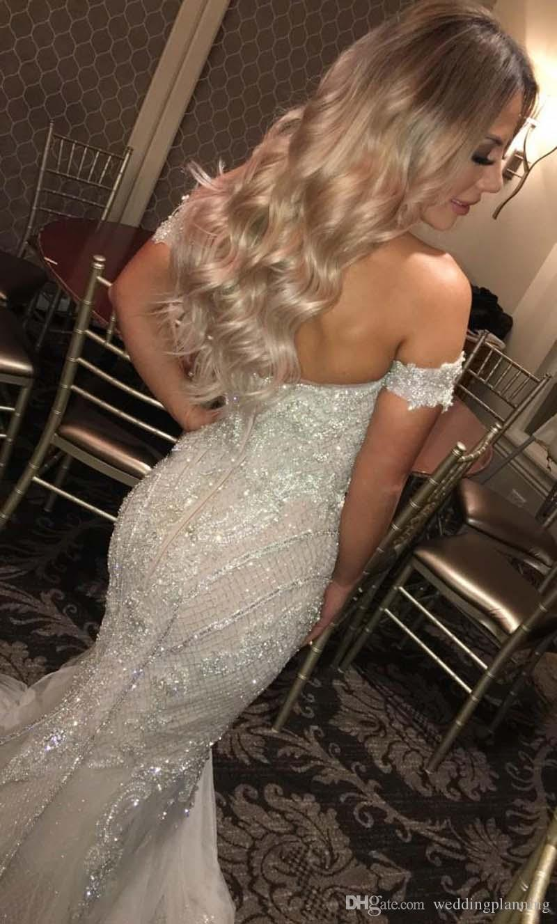 Sparkly Mermaid Short Sleeves Wedding Dresses Sweetheart Crystal Beaded Tulle Backless Wedding Gowns Sexy Plus Size Bridal Dresses
