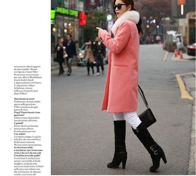 Autunno / Inverno lungo cachemire cappotti Donne 2015 Slim moda europea e americana Blazer collo lungo di lana Windbreaker Abbigliamento Cappotti le donne