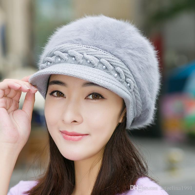겨울 여자를위한 고품질 예술가 토끼 베레모 모자는 유행 여자를 베레모 모자 캐쥬얼 돔 누드 모자를 유지한다
