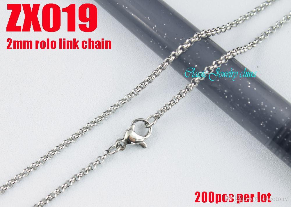 2 mm 360-960mm chaud 316L collier en acier inoxydable bijoux chaînes Rolo ronde femmes de la mode ZX019