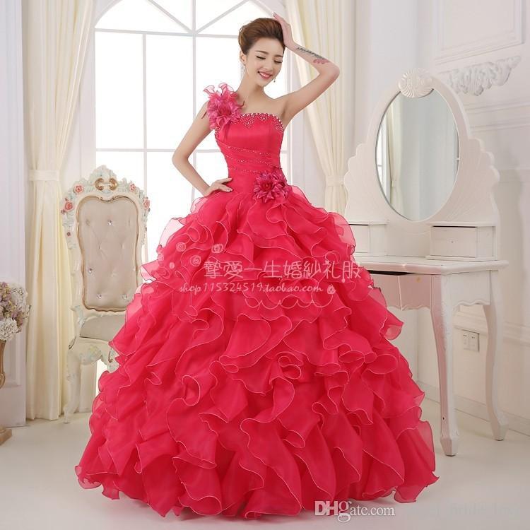 2015 New Red Pink Quinceanera Abiti Ball Gown Con Organza Appliques Perline Cristallo Lace Up Dress 15 Anni Quinceanera Abiti QS114