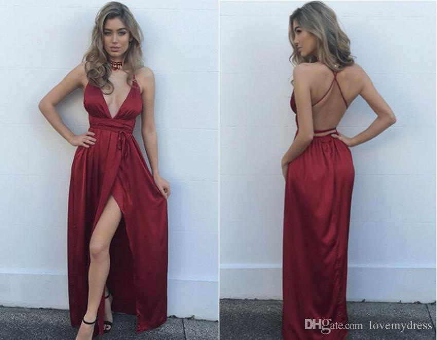 2018 Sexy High Slits Burgundy Evening Formal Gowns With Spaghetti straps Backless Sheath Deep V neck Cheap Designer Prom Party Dresses Gowns