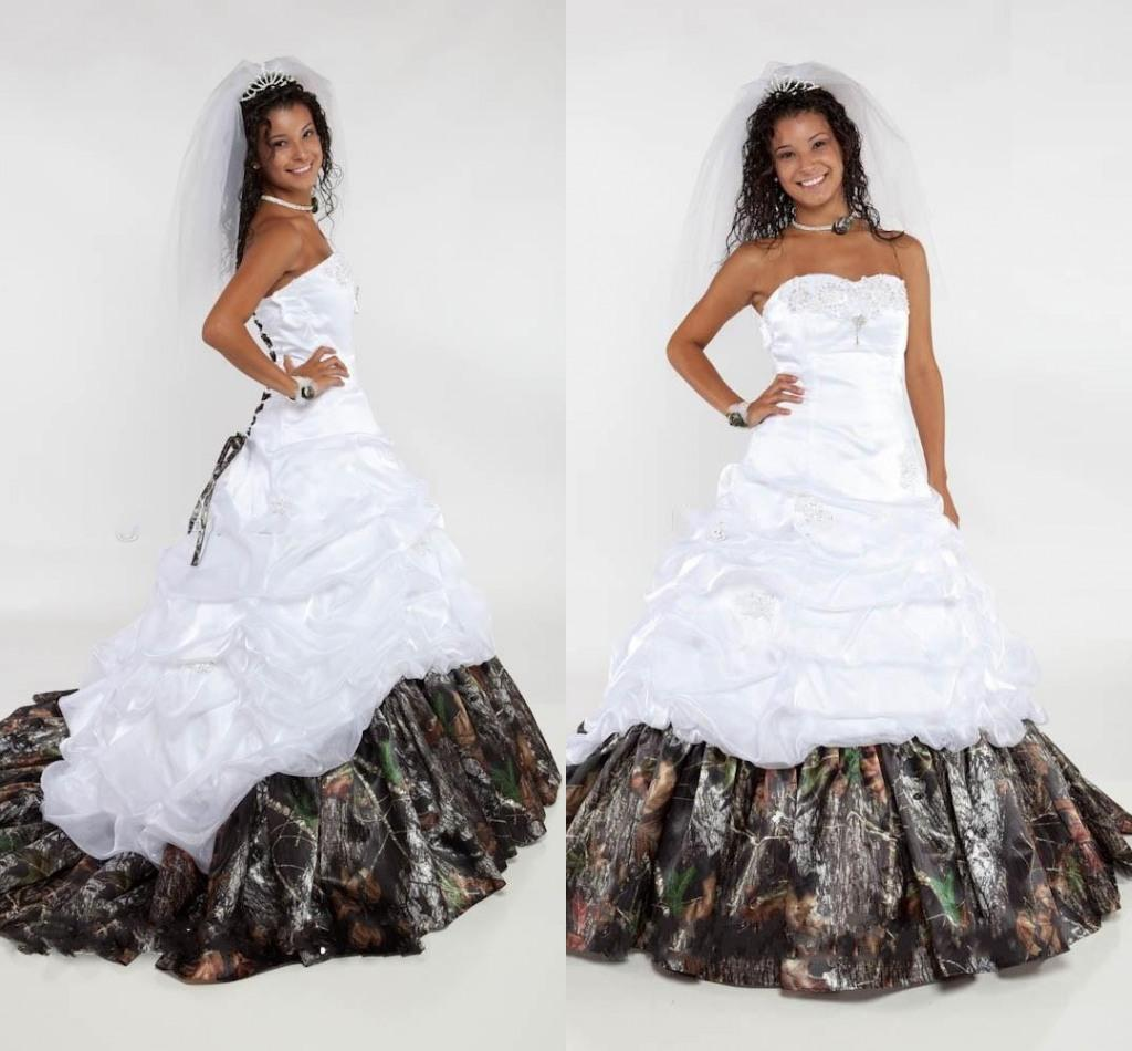 Discount sweetheart satin camo ball gown wedding dresses for Camo ribbon for wedding dress