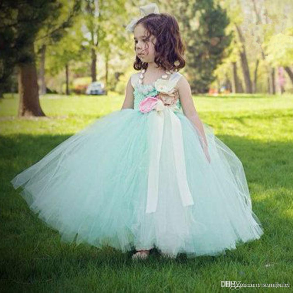 Best Quality Hot Mint Green Flowers Girls Dresses For Wedding Satin ...