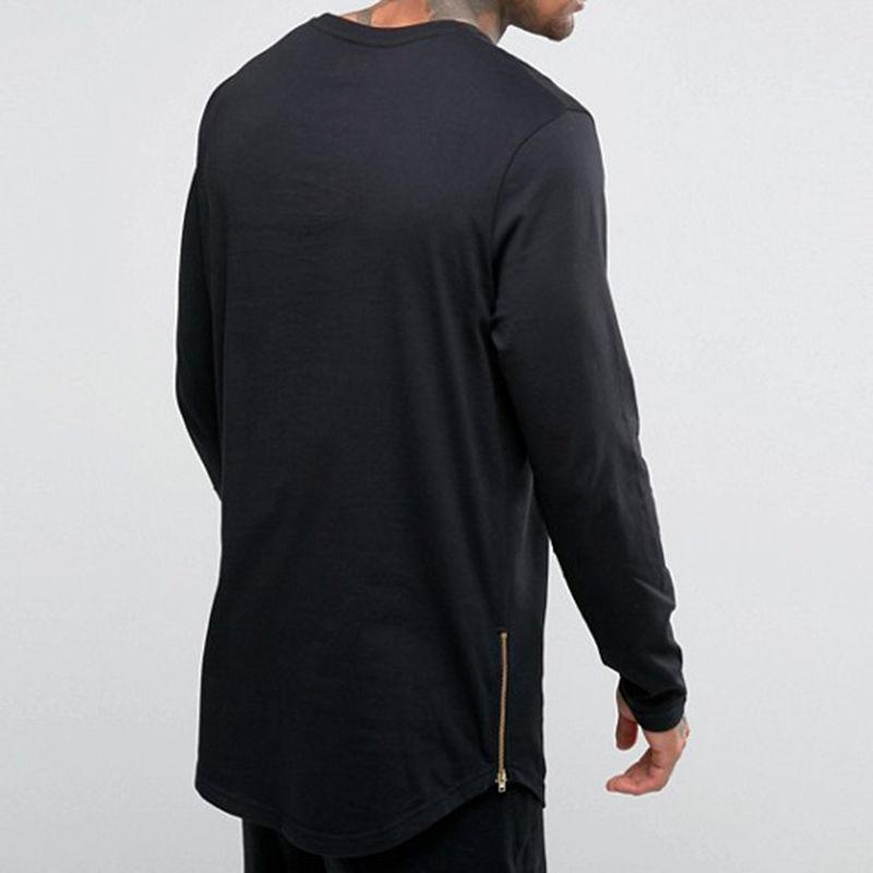 Neue Hip Hop Mens Grundlegende T-Shirt Longline Reißverschluss Designer Langarm Oansatz Solide T-shirts Männer Kurve Hem Side Zip Tops t
