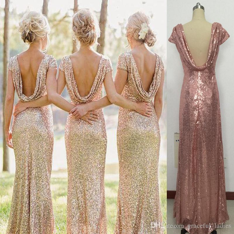 Sequin Glitter Junior Bridesmaid Dresses Backless Short Sleeves Real