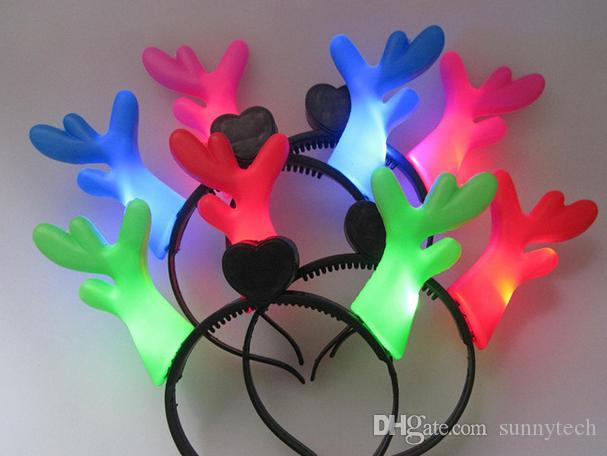 Lot Luminous antlers LED lighting christmas deer horn hairpin headband best christmas gifts for children 4colours Free shipping