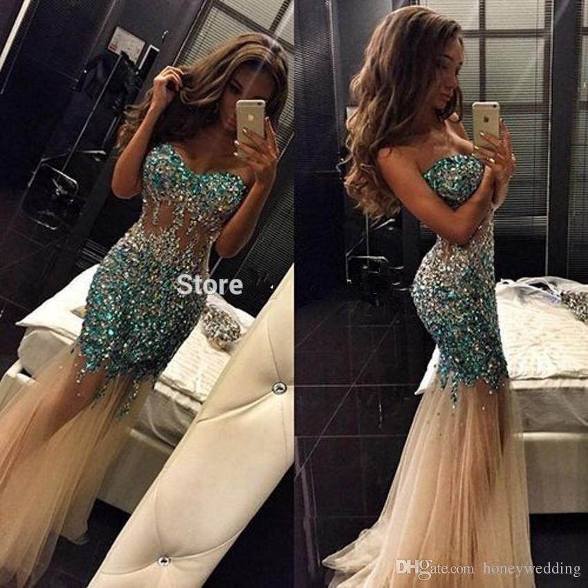 Sparkly See Through Sexy Champagne Tulle Mermaid Dresses Evening Wear With Rhinestones Beaded Sequins Women Formal Party Prom Gowns