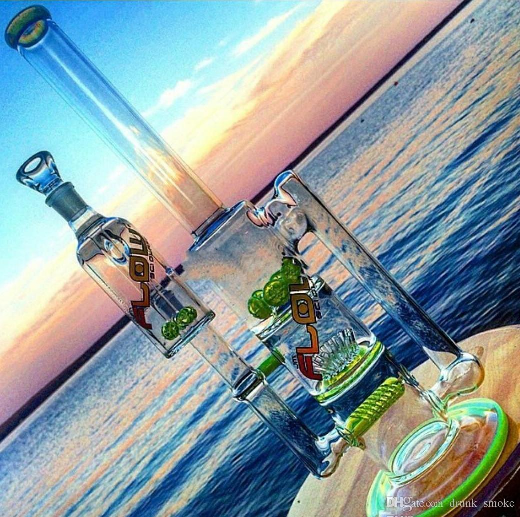 new design Fashion Glass smoking pipes water pipes glass bongs with sprinkle perc and round liner perc and gear perc recycler oil rigs
