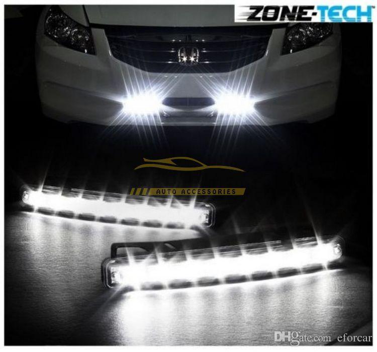 Branca 8 LED 12V Car Trunk Daytime Running luz Head Lamp DRL Daylight Kit frete grátis