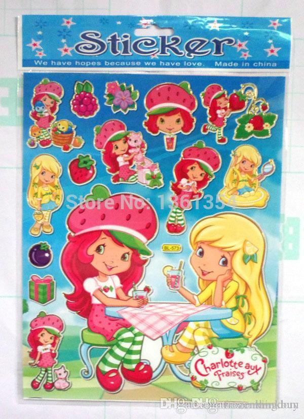 Wholesale Strawberry Shortcake Wallpaper Assorted Jolees Boutique Stickers School Book As Chrismas Gift 0501 Box With Handle Organza