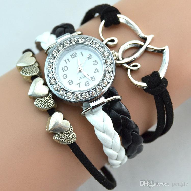 Montres Infinity Weave Bracelet Lady Wrap Band Amour Coeur à Coeur Montres-Bracelets Femmes Mouvement À Quartz Mix Style Livraison Gratuite