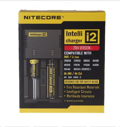 Authentique Nitecore I2 Lithium Li-ion Ni-MH Ni-Cd Chargeur de batterie intelligent Câble de chargeur de voiture Adapté Li-ion: 26650, 22650, 18650, 17670, 18490,18350