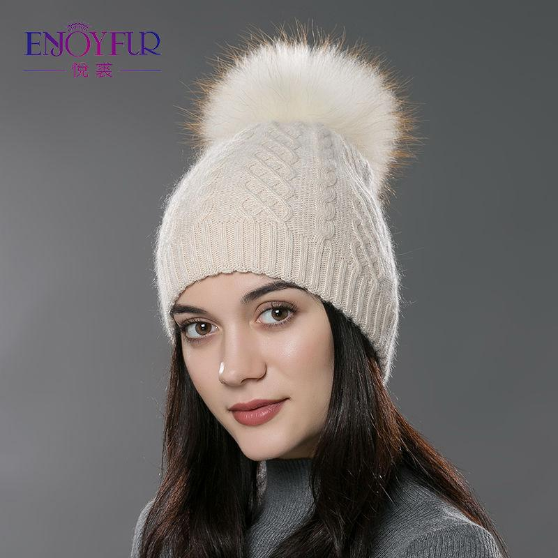 Enjoyfur Casual Winter Fur Pompom Hat For Women Cashmere Wool Cotton Hat Beanies Big Real Raccoon Fur Pompom Beanies Cap Fox Fur Bobble Hat