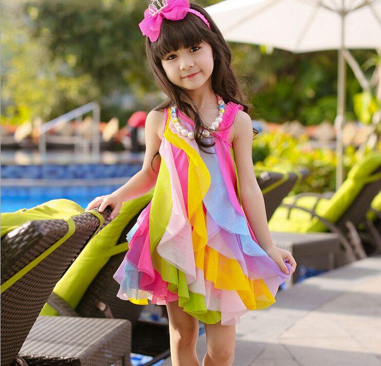 Cảm Cười...chơi - Page 39 2015-new-girl-dress-rainbow-candy-sweet-gauze