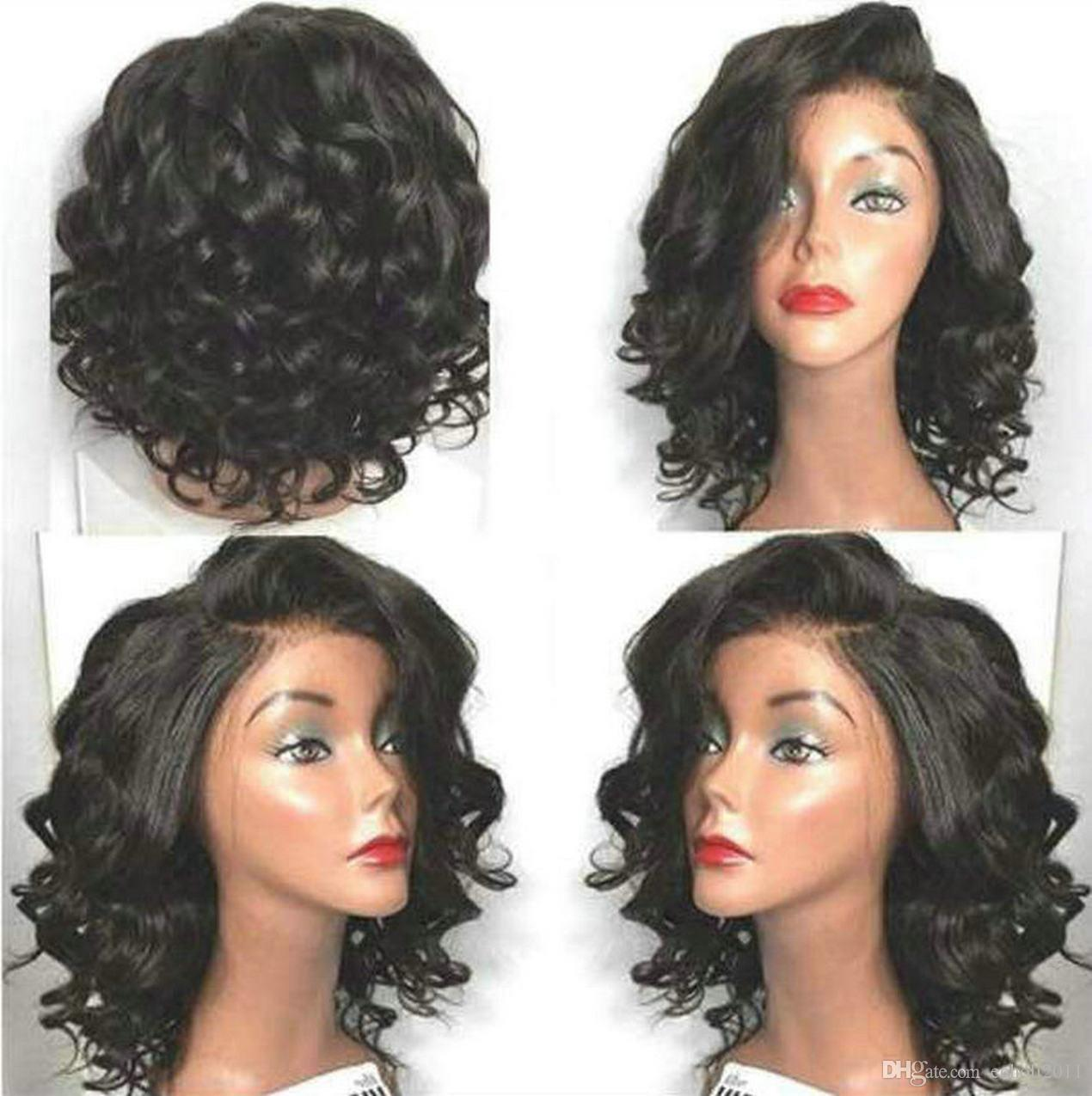 Cheap side part wavy bob body wave full lace human hair wigs for black women short curly wavy lace front wigs 10-18inch