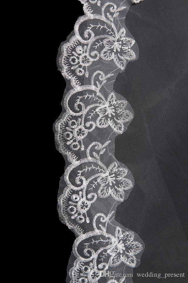 2015 Hot Selling Bridal Wedding Veils One Layer 3m White Ivory Bridal Veils with Lace Appliques Tulle Wedding Veil