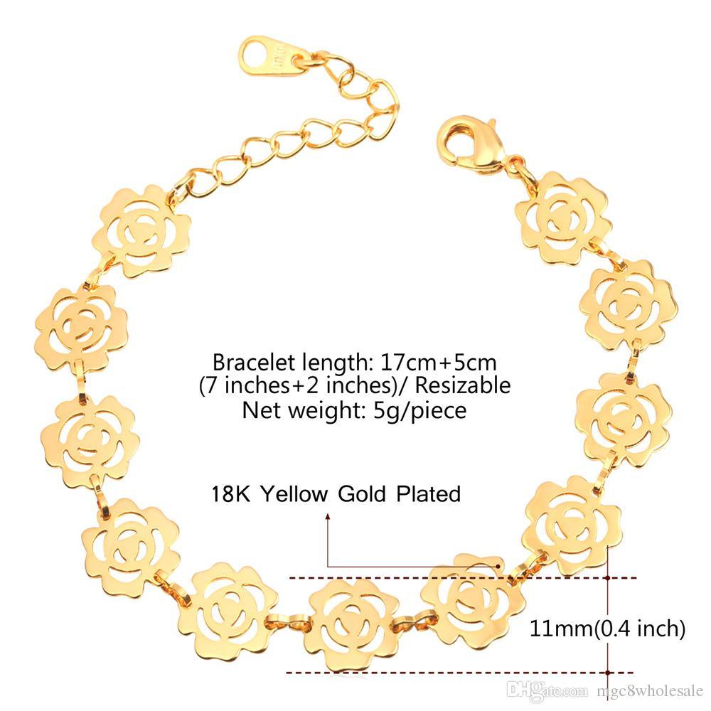 U7 Romantique Fleur Chaîne Bracelet À La Mode Platine / 18K Réel / Or Rose Plaqué Bijoux De Mode 3 Couleurs Cadeau Parfait Pour Les Femmes