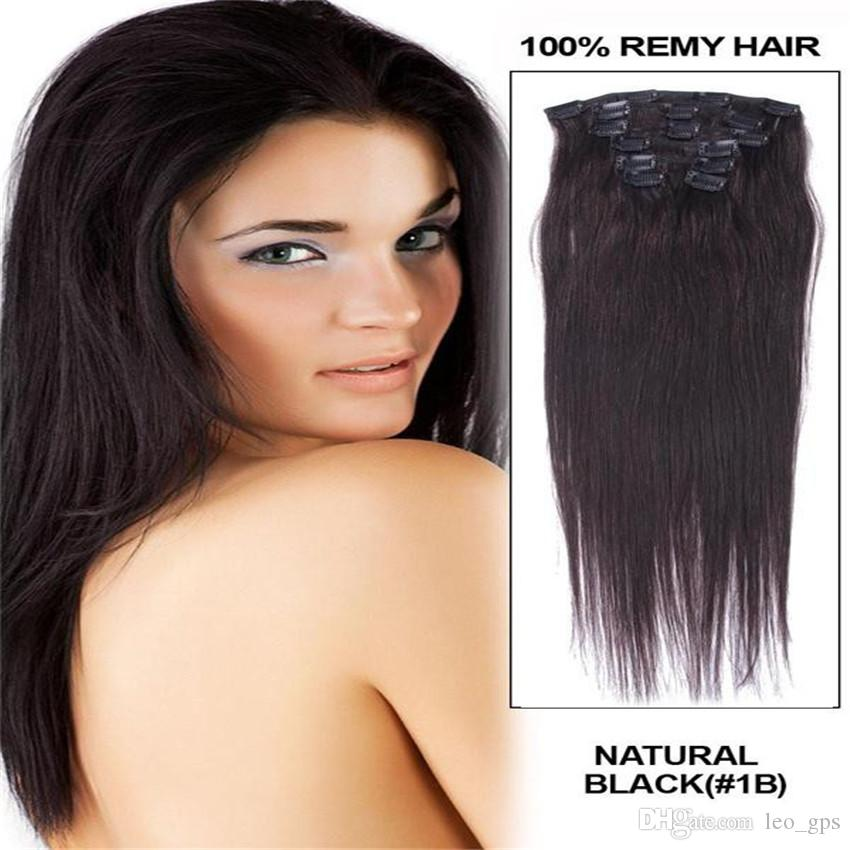 16 26 Full Head Remy Clip In Hair Human Hair Extensions 1b Natural
