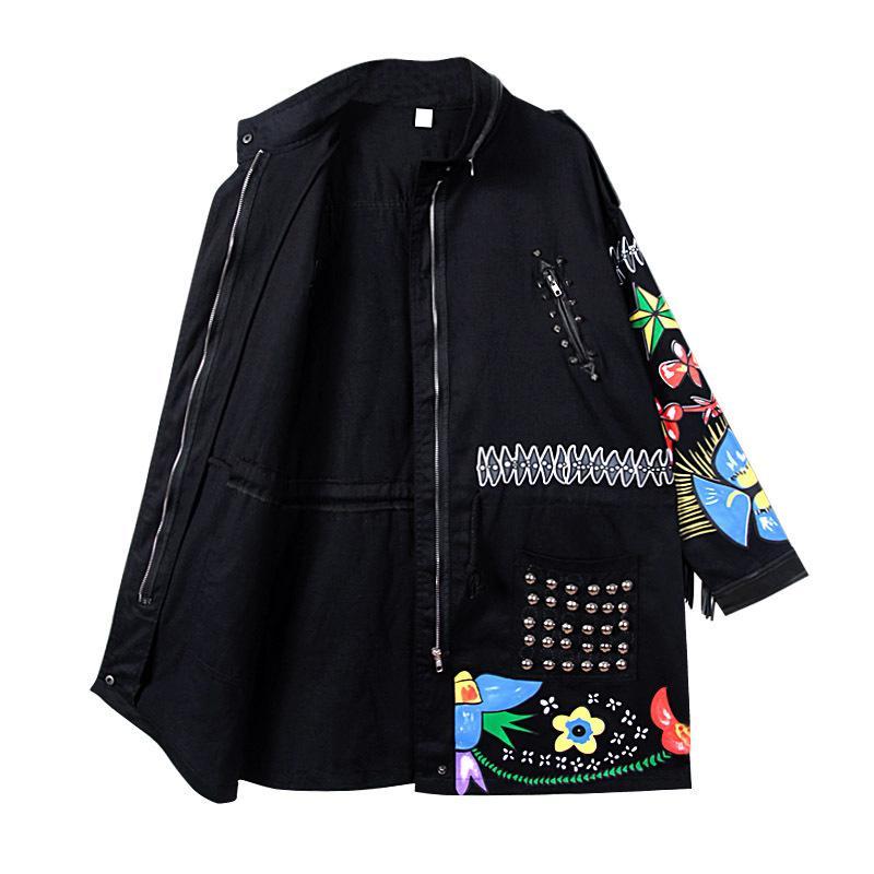 Sherhure Kadın Ceket Kaban Tassles Kollu Çiçek Nakış Boncuk Punk Sokak Kadınlar Bombacı Palto Casaco Feminino Kadın Ceketler