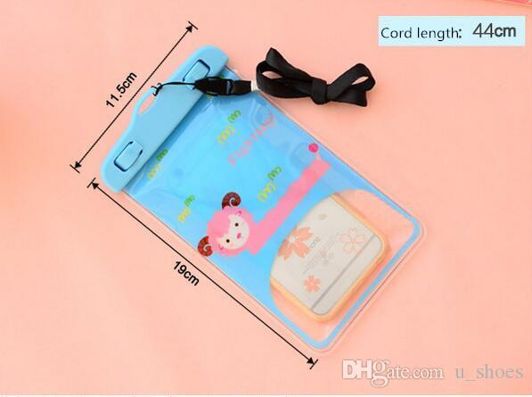 حماية الهاتف لطيف الكرتون أبل IPhone7 المعلقة الرقبة صور الغوص تحت الماء سباحة شفاف المحمول حقيبة مضادة للماء