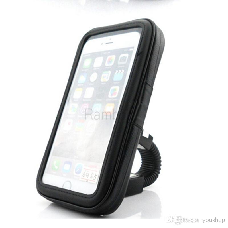 Bike Bicycle Waterproof Bag with Motorcycle Rearview Mirror Mount Holder Stand Support GPS for iphone 7 / 7 plus / 8 Smartphone