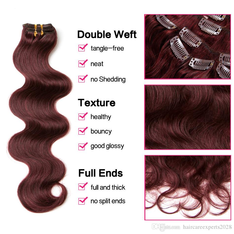 "ELIBESS HAIR-Brazilian Body Wave 70g Clip In Hair Extensions 14""16''18""20""22""24"" Non-Remy Hair 99j Burgundy Human Hair"