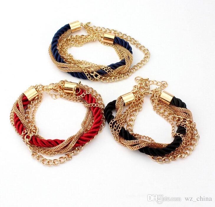 18K Gold Plating Charms Bracelets Link Chains Braided Friendship Bracelet Fashion Girls Accessories Lady Party Dress Christmas Bracelets
