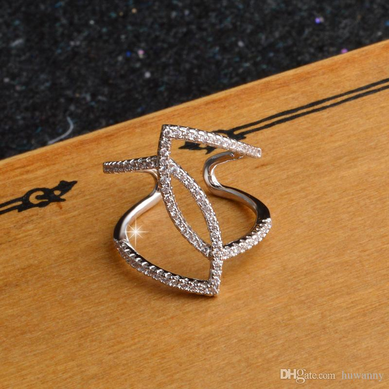 Silver Rings Jewelry Hot Sale Crytal Band Finger Rings For Women Girl Party Open Size Wholesale 0674WH